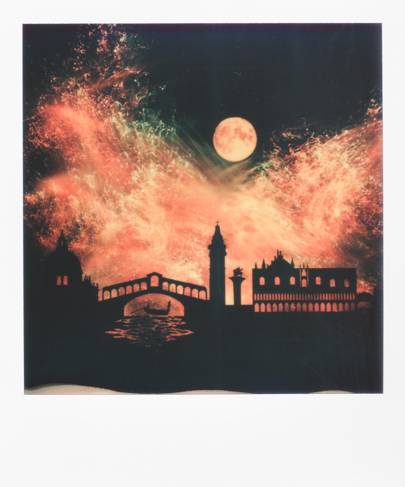 light painting in polaroid