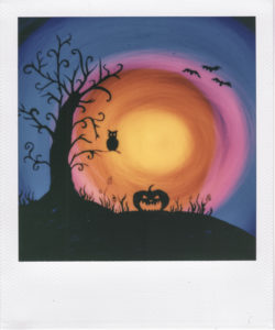 light painting polaroid, lightpainting polaroid, halloween landscape