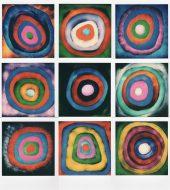 lightpainting in polaroid, mosaico di 9 foto ispirato a Kandinski